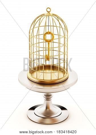 Golden key inside the closed birdcage. 3D illustration.