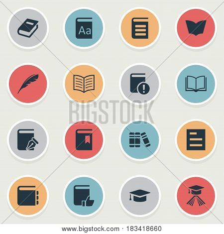 Vector Illustration Set Of Simple Reading Icons. Elements Reading, Important Reading, Academic Cap And Other Synonyms Graduation, Notepad And Literature.