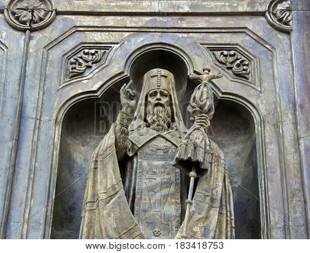 Bronze sculpture (detail) on the exterior of the Cathedral of Christ the Saviour Moscow.
