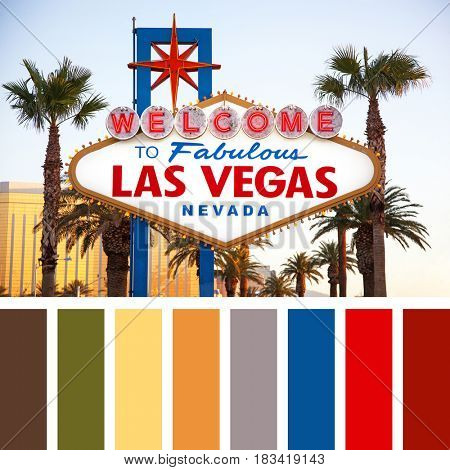 The world famous Welcome to Las Vegas sign in early morning light. The Strip, Las Vegas, USA. In a colour palette with complimentary colour swatches.