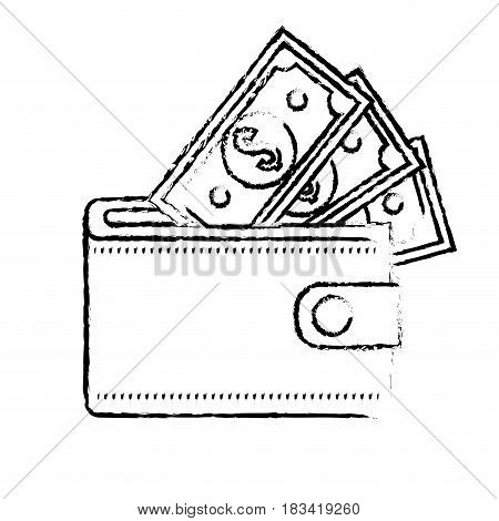 figure wallet with dolars bills inside, vector illustration