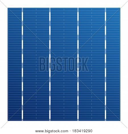 Monocrystalline solar cell for solar modules. Vector photovoltaic system element. Electric element for charge battery. Crystalline solar cell for assembly panels