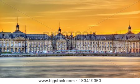 View of Place de la Bourse and the Garonne river in Bordeaux - France