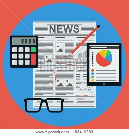 Business news flat design style vector concept illustration