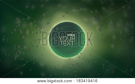 3d abstract vector sphere in depth and cloud of blurred particles