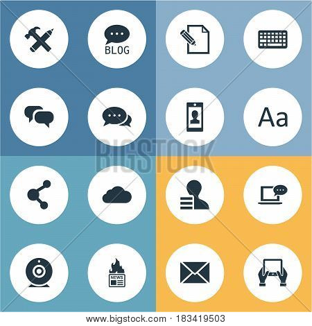 Vector Illustration Set Of Simple Newspaper Icons. Elements Document, Laptop, Gazette And Other Synonyms Keyboard, Cloud And Negotiation.