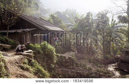 Sa Pa, Vietnam - 14 March, 2017: Traditional Vietnamese village with rice fields in the countryside of Sapa area in Vietnam, Asia
