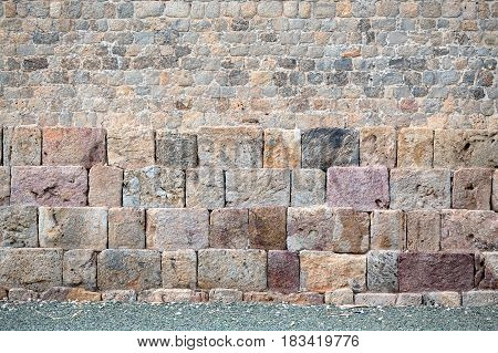 This wall in Cartagena belongs, in a military sense, to the Spanish School of Basted Fortifications. The wall surrounds the whole city and the arsenal.