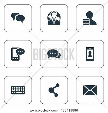 Vector Illustration Set Of Simple Blogging Icons. Elements E-Letter, Gain, Share And Other Synonyms Relation, Globe And Gain.