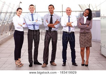 Portrait Of Business multi Team Outside Office