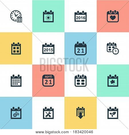 Vector Illustration Set Of Simple Calendar Icons. Elements Remembrance, Agenda, Deadline And Other Synonyms Almanac, Leaf And Summer.