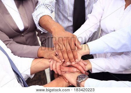 Group of Business People Join the Hand or United as Business Group Teamwork Concept