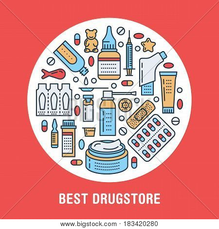 Medical, drugstore poster template. Vector medicament line icons, illustration of dosage forms - tablet, capsules, pills. Medicines antibiotics vitamins, painkiller. Healthcare colored banner.
