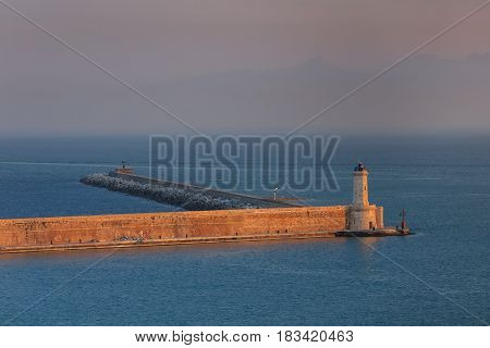 Lighthouse at the port of Livorno Italy