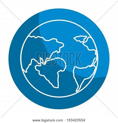 emblem earth planet with global geographys continents, vector illustration