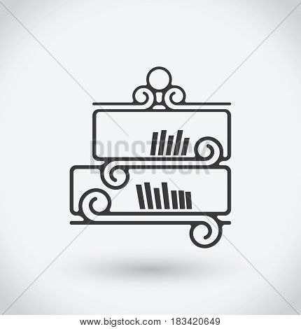 Book shelf Icon on white background. With shadow.