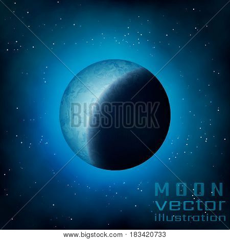 Fantasy night half moon.Dark halloween moon for halloween celebration.Fantasy magic moon black blue art for astrology astronomy banner.Alien moon texture game advertising, game conception design