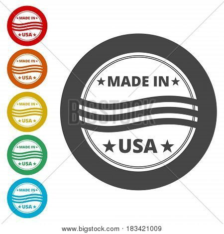 Sticker - Made in USA - Vector illustration, vector icon