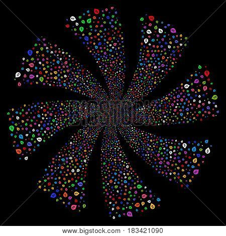 Banking Map Marker fireworks swirl rotation. Vector illustration style is flat bright multicolored iconic symbols on a black background. Object whirl created from random pictograms.