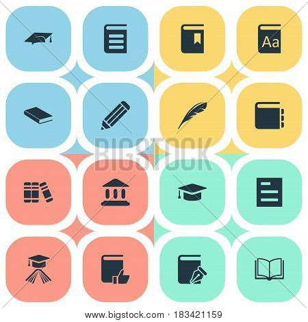 Vector Illustration Set Of Simple Knowledge Icons. Elements Journal, Bookshelf, Academic Cap And Other Synonyms Bookshelf, Hat And Quill.