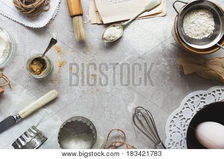 Top View Baking Scene on Grey Marble Table