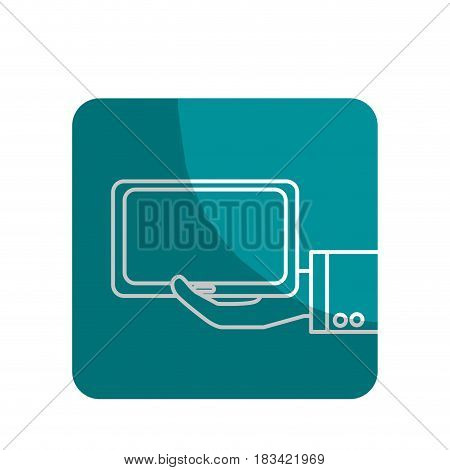 logotype tablet technology business in the hand, vector illustration design