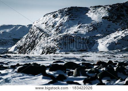 Kola Peninsula At Winter. Northern Tundra Russia Region