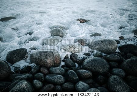 Barents Sea Coast In Arctic Ocean. Kola Peninsula, Russia