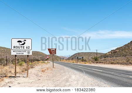 The scenic route R62 between Ladismith and Barrydale in the Western Cape Province of South Africa