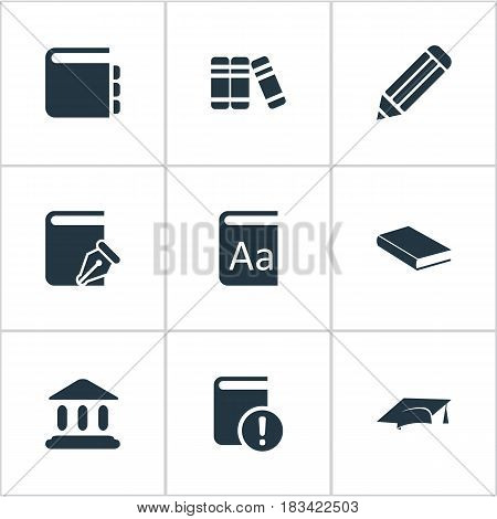 Vector Illustration Set Of Simple Education Icons. Elements Bookshelf, Important Reading, Journal And Other Synonyms Catalog, Notepad And Journal.