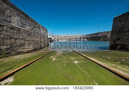 Comillas small fishing port Cantabria Spain .