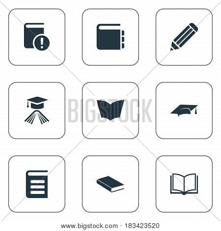 Vector Illustration Set Of Simple Knowledge Icons. Elements Academic Cap, Important Reading, Journal And Other Synonyms Textbook, Pencil And Page.