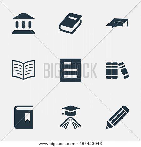 Vector Illustration Set Of Simple Books Icons. Elements Notebook, Library, Book Cover And Other Synonyms Bookmark, Book And Hat.
