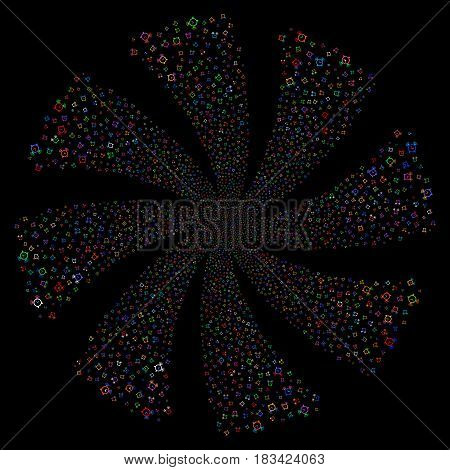 Buzzer fireworks swirl rotation. Vector illustration style is flat bright multicolored iconic symbols on a black background. Object whirl constructed from random symbols.
