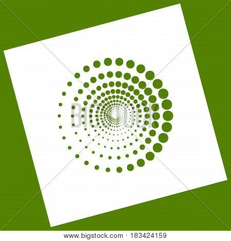 Abstract technology circles sign. Vector. White icon obtained as a result of subtraction rotated square and path. Avocado background.