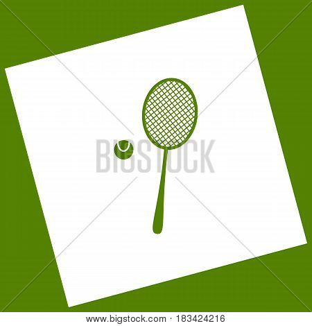 Tennis racquet with ball sign. Vector. White icon obtained as a result of subtraction rotated square and path. Avocado background.