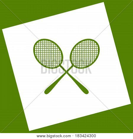 Tennis racquets sign. Vector. White icon obtained as a result of subtraction rotated square and path. Avocado background.
