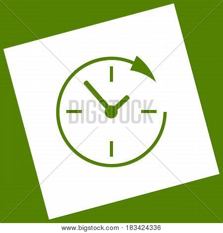 Service and support for customers around the clock and 24 hours. Vector. White icon obtained as a result of subtraction rotated square and path. Avocado background.