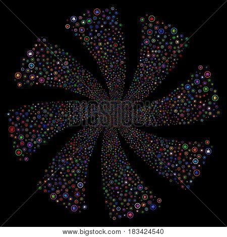Cannabis fireworks swirl rotation. Vector illustration style is flat bright multicolored iconic symbols on a black background. Object whirlpool created from random symbols.