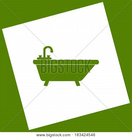 Bathtub sign illustration. Vector. White icon obtained as a result of subtraction rotated square and path. Avocado background.