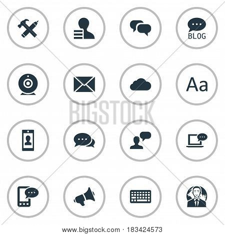 Vector Illustration Set Of Simple Blogging Icons. Elements Gossip, Overcast, Post And Other Synonyms Man, Profile And Speech.
