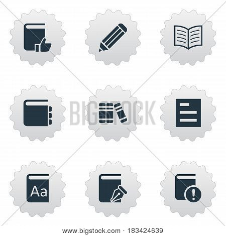 Vector Illustration Set Of Simple Books Icons. Elements Important Reading, Book Page, Alphabet And Other Synonyms Important, Sketchbook And Note.