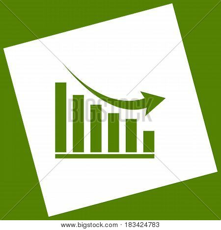Declining graph sign. Vector. White icon obtained as a result of subtraction rotated square and path. Avocado background.