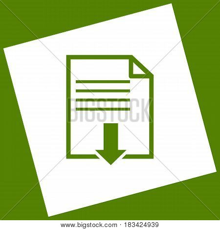 File download sign. Vector. White icon obtained as a result of subtraction rotated square and path. Avocado background.