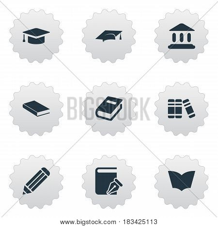 Vector Illustration Set Of Simple Education Icons. Elements Bookshelf, Academic Cap, Sketchbook And Other Synonyms Graduation, Pencil And Academic.