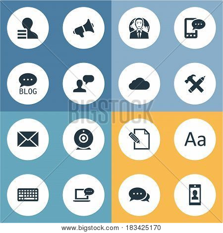 Vector Illustration Set Of Simple User Icons. Elements Man Considering, Laptop, Gain And Other Synonyms Sky, Considering And Smartphone.