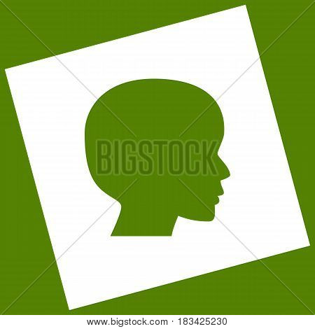 People head sign. Vector. White icon obtained as a result of subtraction rotated square and path. Avocado background.