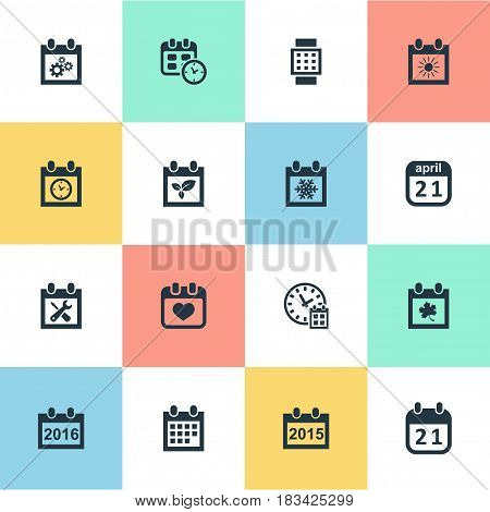 Vector Illustration Set Of Simple Calendar Icons. Elements 2016 Calendar, Summer Calendar, Date Block And Other Synonyms Autumn, Reminder And Gear.