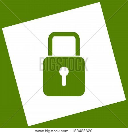 Lock sign illustration. Vector. White icon obtained as a result of subtraction rotated square and path. Avocado background.