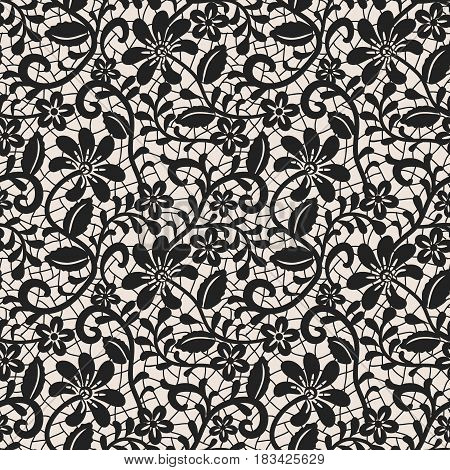Seamless black lace background with floral pattern